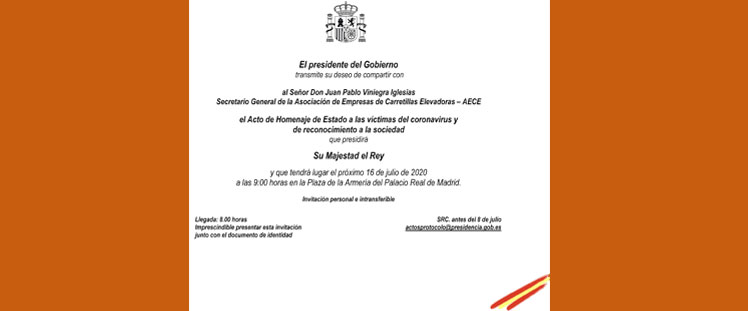 AECE invitada al Acto de Estado en memoria de las víctimas del COVID-19